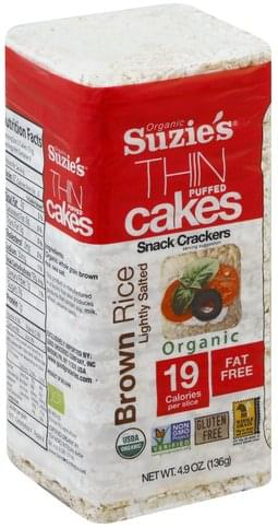 Suzies Organic, Brown Rice, Lightly Salted Thin Puffed Cakes - 4.9 oz