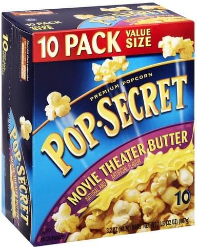 Pop Secret Premium Movie Theater Butter Value Size Popcorn 10 Ea Nutrition Information Innit