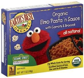 Earths Best Pasta 'n Sauce Elmo, Organic, with Carrots & Broccoli, 123 Sesame Street