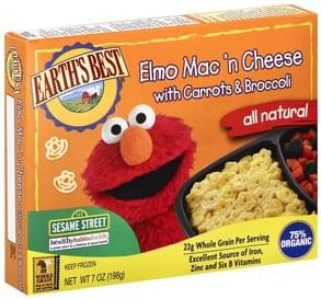 Earths Best Mac 'n Cheese Elmo, with Carrots & Broccoli, 123 Sesame Street