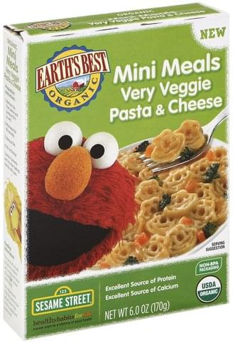 Earths Best Very Veggie Pasta & Cheese, Sesame Street Mini Meals - 6 oz