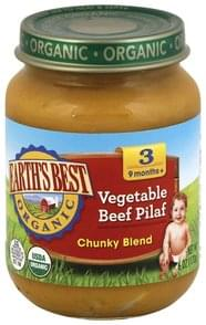 Earths Best Vegetable Beef Pilaf Chunky Blend, 3 (9 Months+)