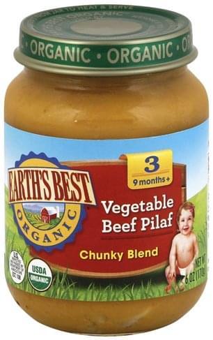 Earths Best Chunky Blend, 3 (9 Months+) Vegetable Beef Pilaf - 6 oz
