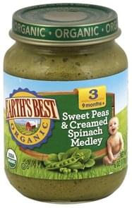 Earths Best Sweet Peas & Creamed Spinach Medley 3 (9 Months +)