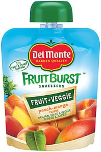 Del Monte Fruitburst Squeezers Peach-Mango Flavor Fruit & Veggie Purees & Juices - 3.2 oz