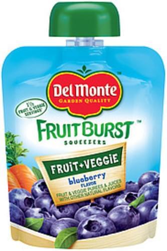 Del Monte Fruitburst Squeezers Blueberry Flavor Fruit & Veggie Purees & Juices - 3.2 oz