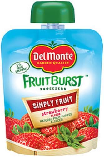 Del Monte Fruitburst Squeezers Simply Fruit Strawberry Flavor Fruit Purees & Juices - 3.2 oz