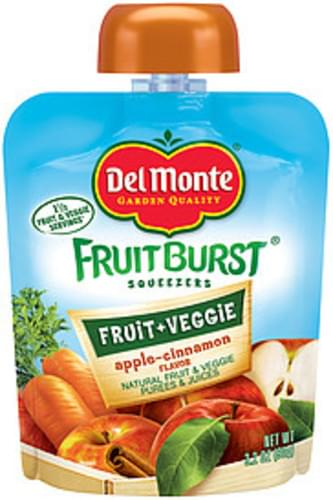 Del Monte Fruitburst Squeezers Simply Fruit Apple-Cinnamon Flavor Fruit Purees & Juices - 3.2 oz