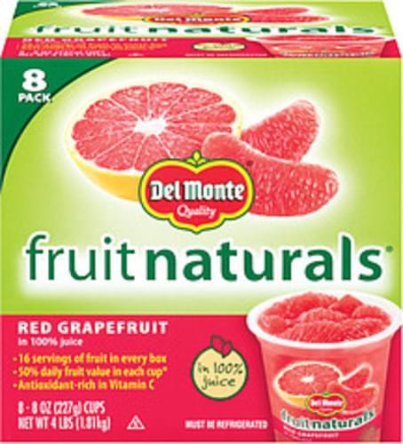 Fruit Naturals In 100% Juice 8 Oz Cups Red Grapefruit - 8 pkg