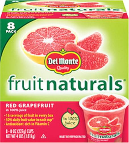 Fruit Naturals In 100% Juice 8 Oz Cups Red Grapefruit - 8 pkg