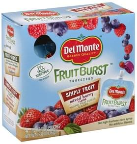 Del Monte Squeezers Simply Fruit, Mixed Berry Flavor
