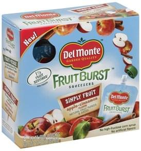Del Monte Squeezers Simply Fruit, Apple-Cinnamon Flavor