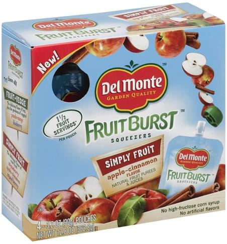 Del Monte Simply Fruit, Apple-Cinnamon Flavor Squeezers - 4 ea
