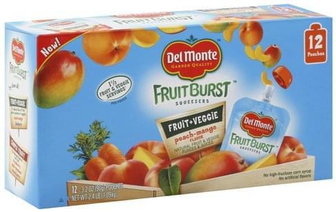 Del Monte Peach-Mango Flavor Fruit & Veggie Purees & Juices - 12 ea