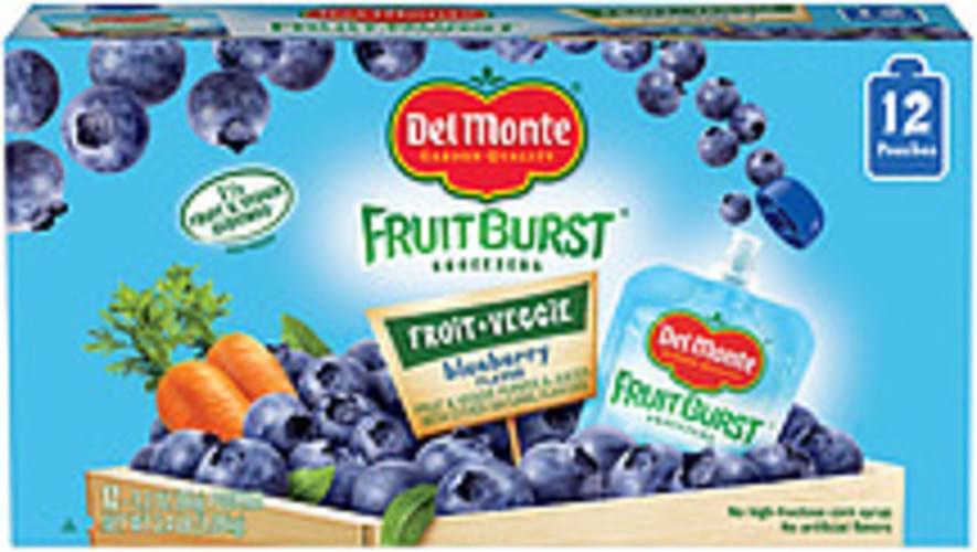Del Monte Fruitburst Squeezers Blueberry Flavor Fruit & Veggie Purees & Juices - 2.4 lb
