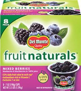 Fruit Naturals Mixed Berries Blueberries & Blackberries In 100% Juice 7 Oz Cups