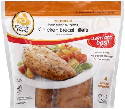 Gold N Plump Boneless Skinless, Seasoned Chicken Breast Fillets - 4 ea