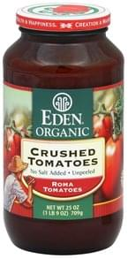 Eden Tomatoes Crushed, No Salt Added, Unpeeled