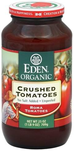 Eden Crushed, No Salt Added, Unpeeled Tomatoes - 25 oz