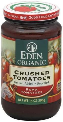 Eden Crushed, No Salt Added, Unpeeled Tomatoes - 14 oz