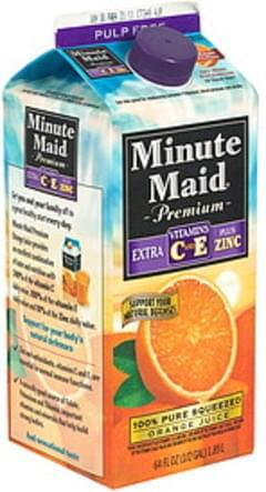 Minute Maid 100% Juice Pure Squeezed Orange, Extra Vitamins C & E Plus Zinc, Pulp Free