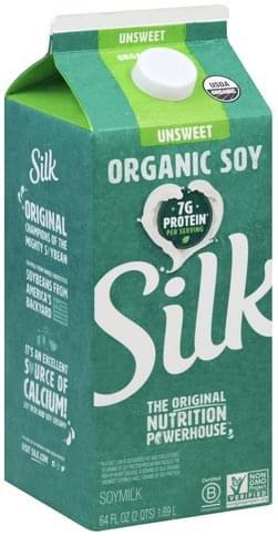 Silk Organic, Unsweet Soymilk - 64 oz