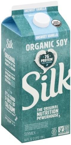 Silk Organic, Unsweet Vanilla Soymilk