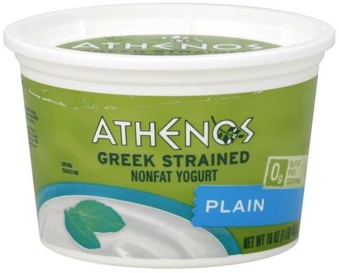 Athenos Nonfat, Greek Strained, Plain Yogurt - 16 oz