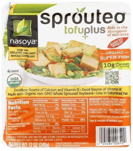 Nasoya Sprouted, Organic, Super Firm Tofuplus - 12 oz