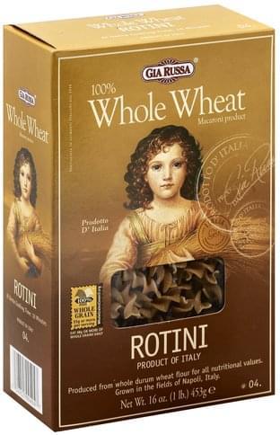 Gia Russa 100% Whole Wheat, 04 Rotini - 16 oz