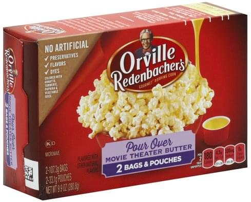 Orville Redenbachers Gourmet, Pour Over Movie Theater Butter, Classic Bags Popping Corn - 2 ea