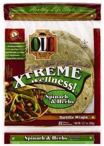 Ole Tortilla Wraps Flour, Spinach & Herbs