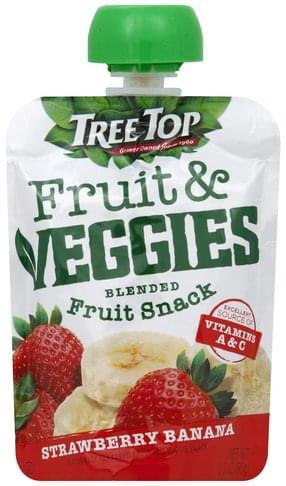 Tree Top Blended Fruit Snack, Strawberry Banana Fruit & Veggies - 3.2 oz