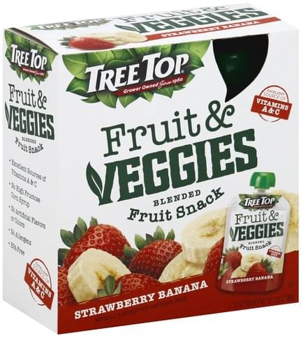 Tree Top Fruit & Veggies, Strawberry Banana Blended Fruit Snack - 4 ea