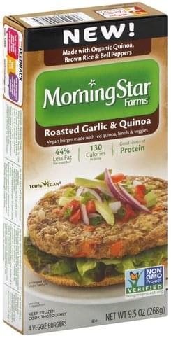 MorningStar Farms Roasted Garlic & Quinoa Veggie Burgers - 4 ea