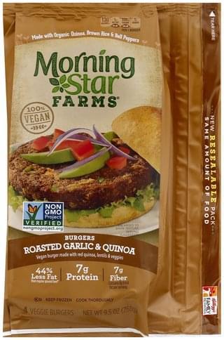 MorningStar Farms Veggie, Roasted Garlic & Quinoa Burgers - 4 ea