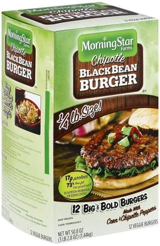 MorningStar Farms Chipotle Black Bean Burger Veggie Burgers - 12 ea