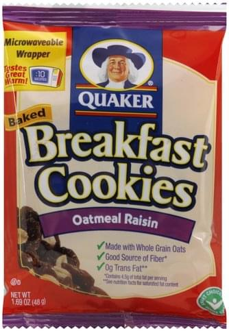 Quaker Baked, Oatmeal Raisin Breakfast Cookies - 1.69 oz