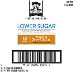 Quaker Oatmeal Quaker Lower Sugar Maple Brown Sugar Instant Oatmeal Lower Sugar Maple Brown Sugar