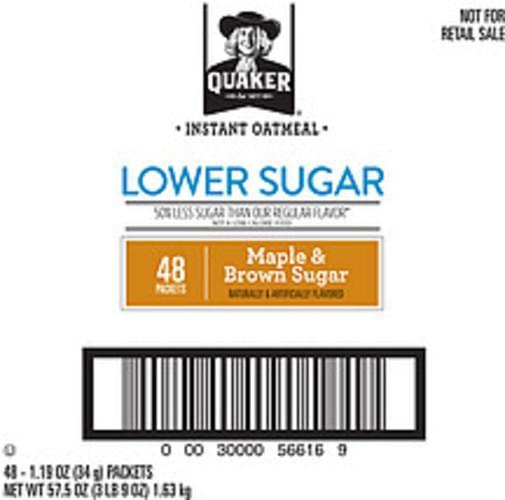 Quaker Oatmeal Lower Sugar Maple Brown Sugar Quaker Lower Sugar Maple Brown Sugar Instant Oatmeal - 57.5 oz