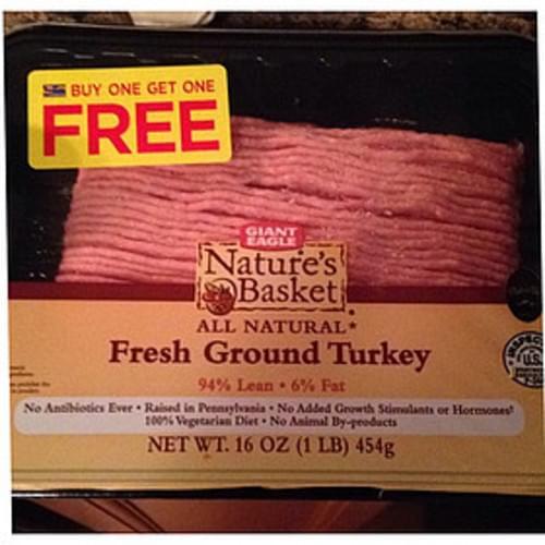 Giant Eagle Nature's Basket Organic Fresh Ground Turkey - 112 g