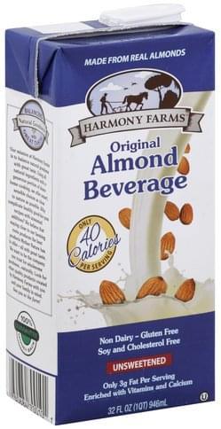 Harmony Farms Original, Unsweetened Almond Beverage - 32 oz