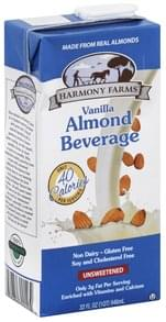 Harmony Farms Almond Beverage Unsweetened, Vanilla