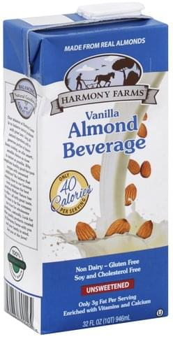 Harmony Farms Unsweetened, Vanilla Almond Beverage - 32 oz