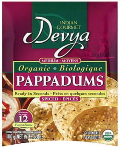Devya Indian Gourmet Medium Spiced 12 Ct Pappadums - 10 pkg