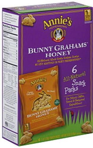 Annie's Homegrown Honey Snack Packs 6 Ct Bunny Grahams - 6 pkg
