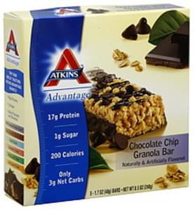 Atkins Advantage Granola Bars Chocolate Chip 5 Ct