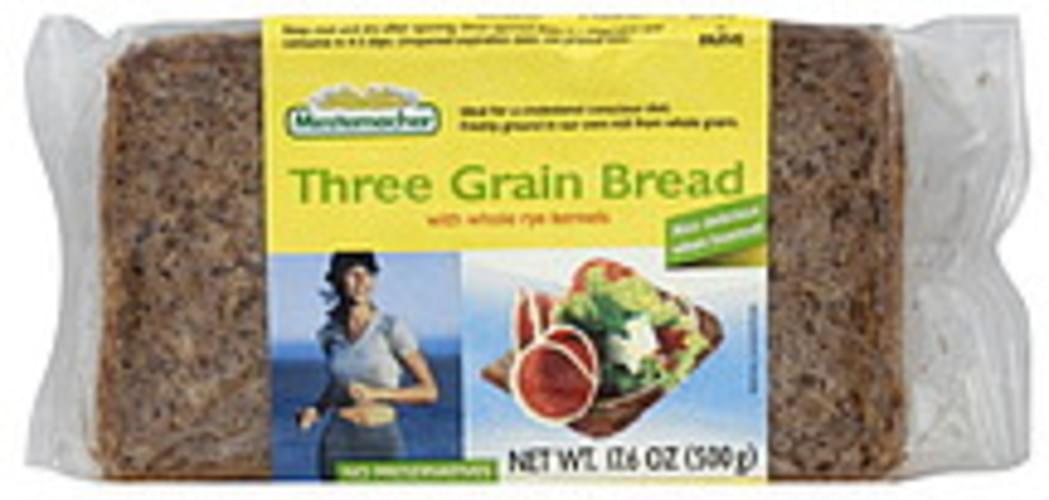Mestemacher Three Grain W/Whole Rye Kernels 17.6 Oz Bread - 12 pkg