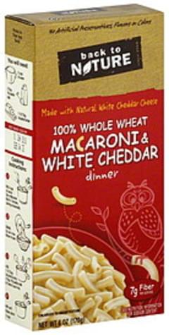 Back to Nature Pasta 100% Whole Wheat Macaroni & White Cheddar 6 Oz