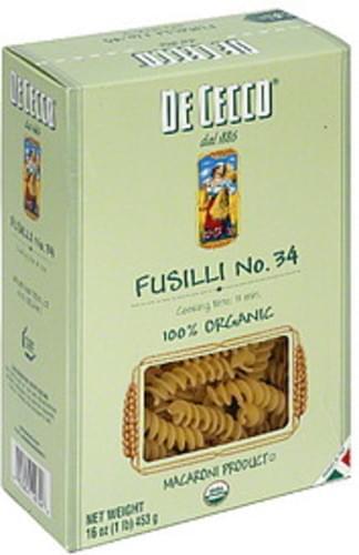 De Cecco Organic Fusilli 16 Oz Pasta - 20 pkg